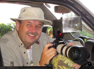Mike with his safari camera gear
